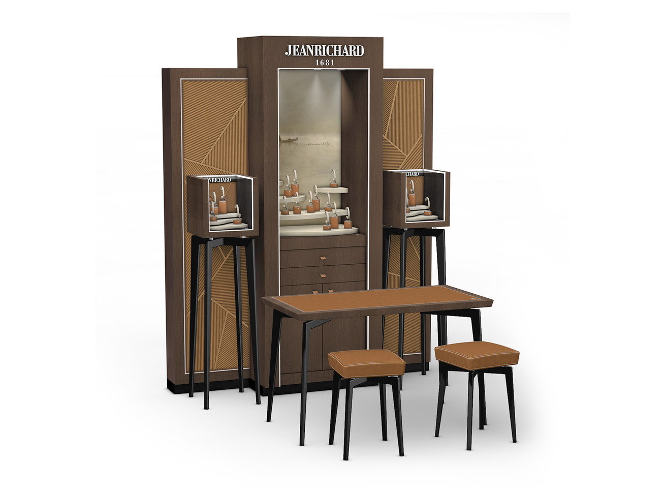 Corner Concept Furniture - Composition with Backwall, Showcases and Sales table