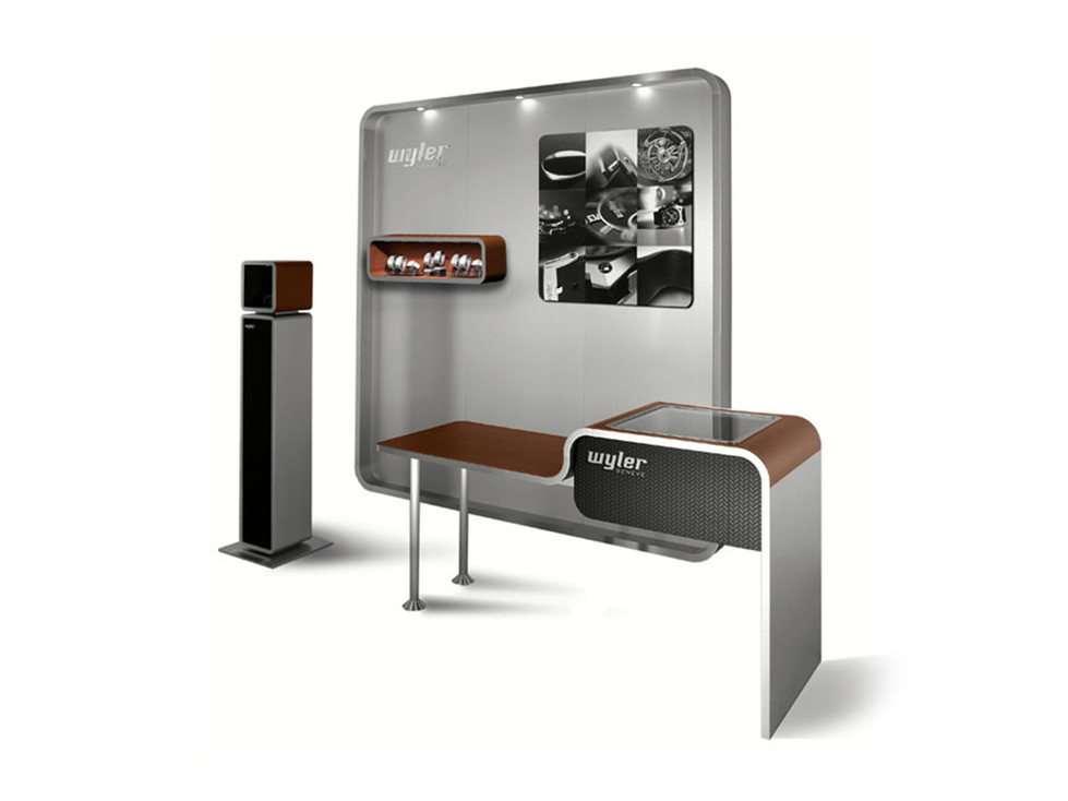 Corner Concept - Composition with Backwall, Showcase, Sales table