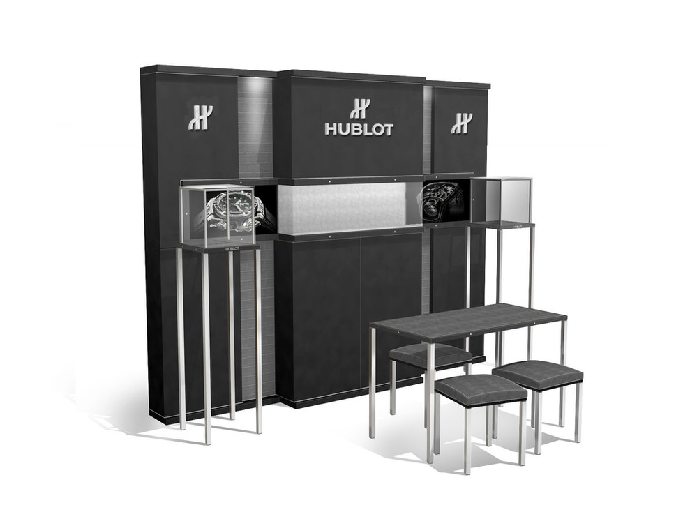 Corner concept - Generation 2 - Composition with Backwall, Showcases and Sales Table