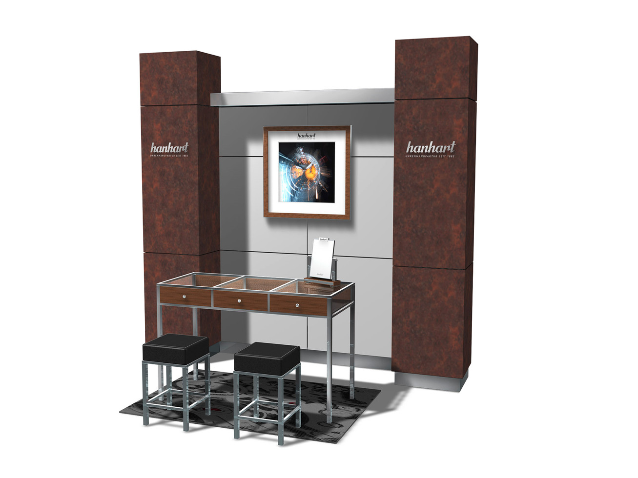 Corner concept - Backwall & Sales showcase + stools