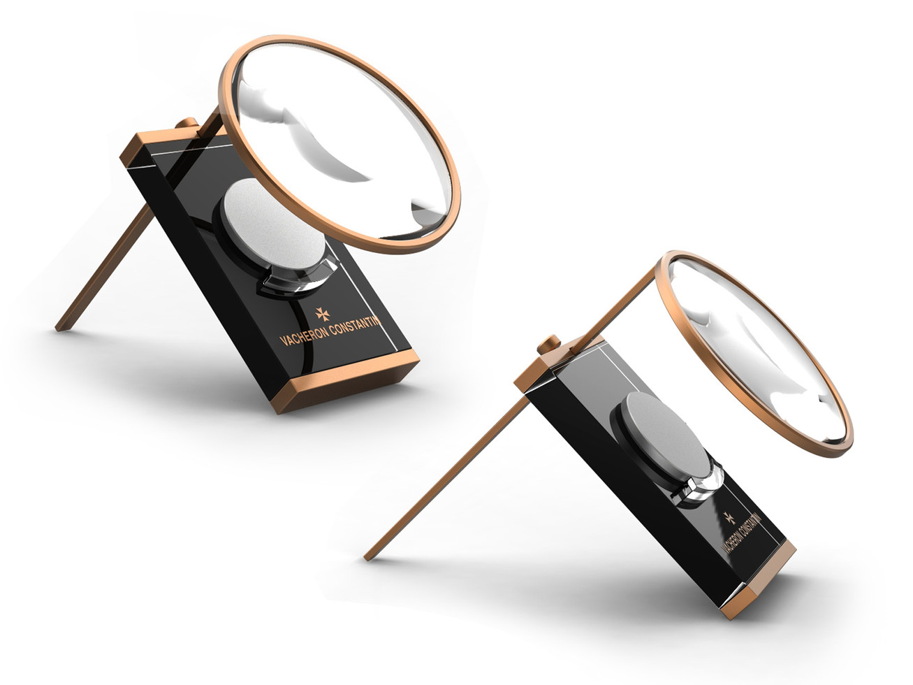Movement display with magnifying glass