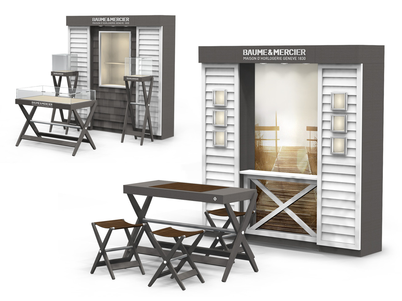 Corner Concept Furniture - Compositions with Backwall & Showcases or Sales table