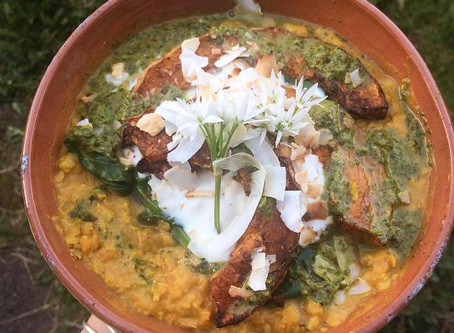 Squash and Spinach Dhal with Wild Garlic and Chilli Salsa
