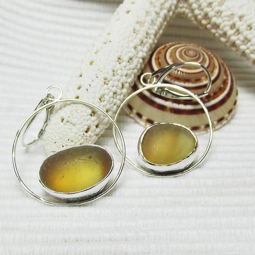 Amber Multi-Colored Sea Glass Earrings