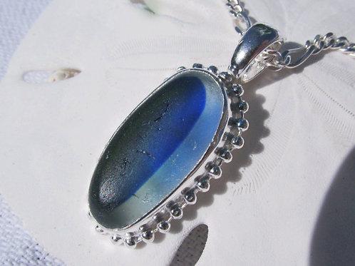 """Blue Multi-Colored Sea Glass Necklace  (24"""")"""