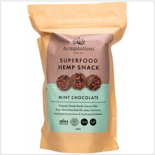 2DIE4 LIVE FOODS Hemptations - Superfood Hemp Snack Mint Chocolate 200g