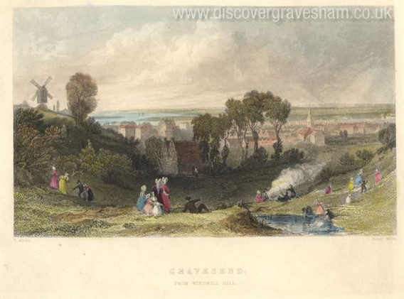 Engraving of Gravesend from Windmill Hill