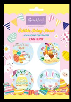 Edible Icing Sheet: 4.3cm Round Cupcake Topper - Egg Hunt