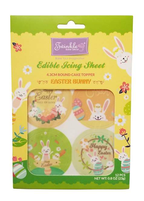 Edible Icing Sheet: 4.3cm Round Cupcake Topper - Easter Bunny