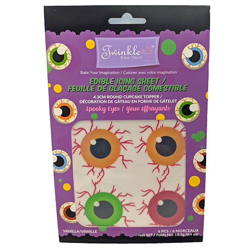 """4.3"""" Round MINI Edible Icing Sheets 6pc/Pack -Spooky Eyes"""