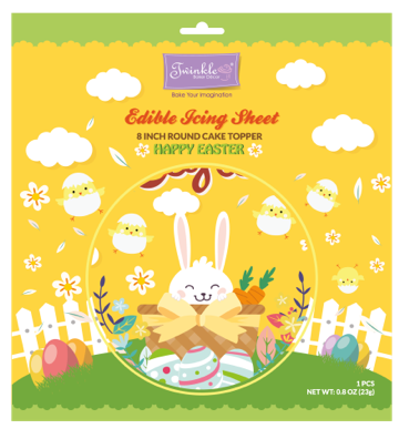 """Edible Icing Sheet: 8"""" Round Cake Topper - Happy Easter"""