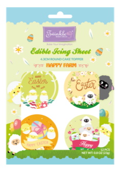 Edible Icing Sheet: 4.3cm Round Cupcake Topper - Happy Farm