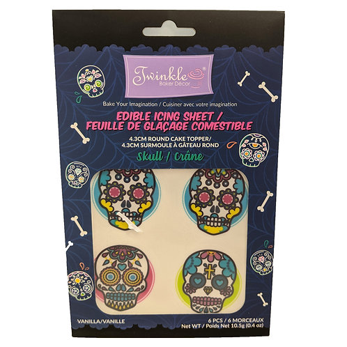 "4.3"" Round MINI Edible Icing Sheets 6pc/Pack -Skulls"