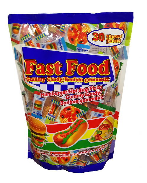 Fast Food Gummies 30 Pack - Halloween Laydown Bag