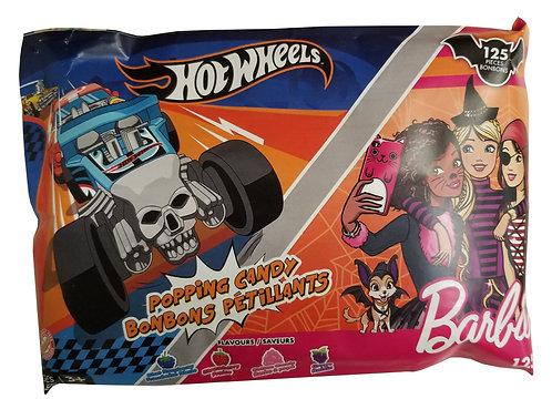 Barbie & Hot Wheels Popping Candy 125g Halloween Laydown Bag