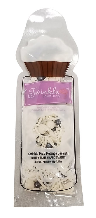 Sprinkles 30g White & Silver Mix  Pouch