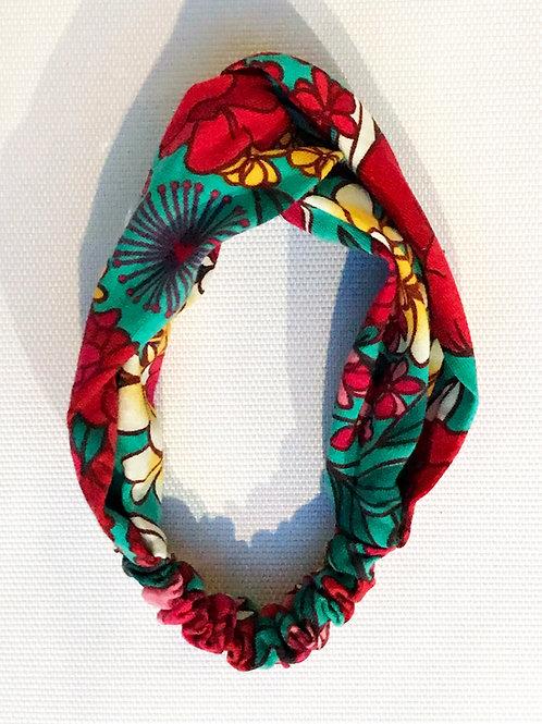 Mini Turbante Floral Vermelho