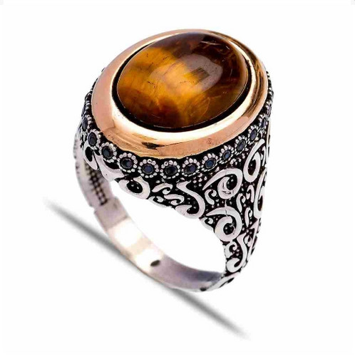 rings lots wholesale tiger stone silver from eye tone ring product com gemstone dhgate babykid size