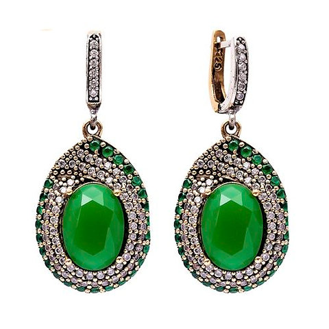 Design Sterling Silver Emerald Earrings