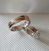 Alliances sur mesure or blanc et rose 18kt