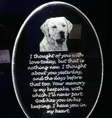 CUSTOM PHOTO DOG MEMORIAL WITH POEM PICTURED ON AN(LED LIGHT BASE AVAILABLE SEPA