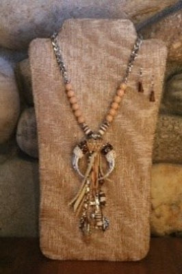 Pink and Beige Horn Necklace