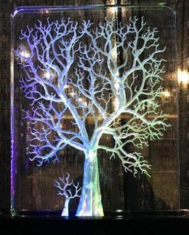 WINTER TREE CARVED DEEPLY IN 3 D, 8 X 10 WITH LED LIGHT
