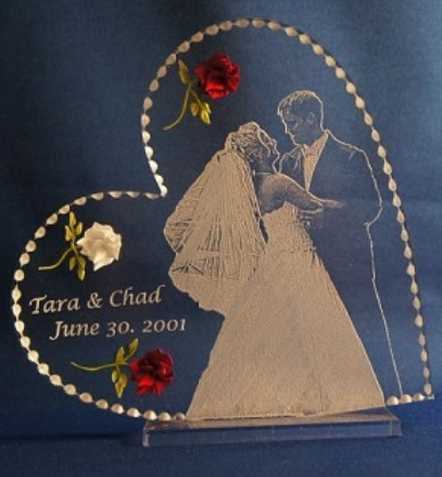 CUSTOM PHOTO HEART CAKE TOPPER/ WEDDING GIFT