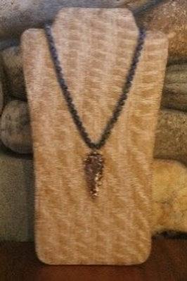 Smokey Blue Beaded Arrowhead Necklace