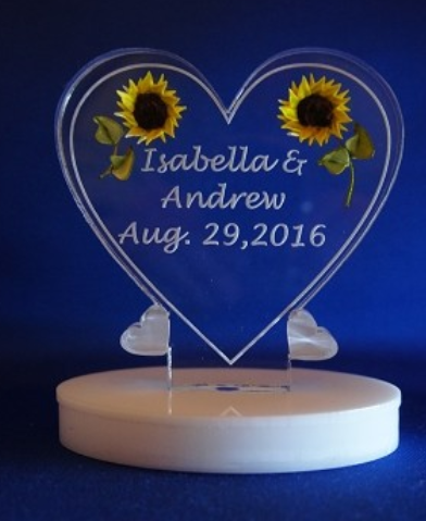 SMALL HEART SUNFLOWER BATTERY OPERATED LED LIGHTED TOPPER