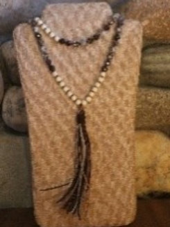 Bronze and Ivory Tassel Long Necklace