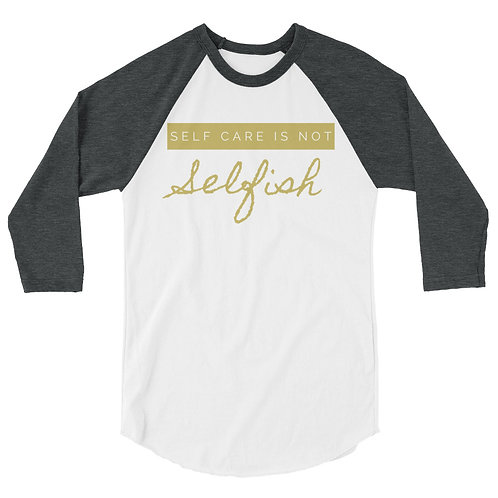 Self Care Red 3/4 sleeve raglan shirt