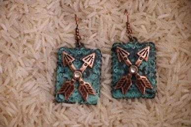 Turquoise and Bronze Arrow Earrings