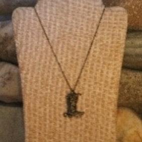 Bronze Cowboy Boot Necklace