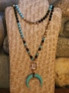 Black and Turquoise Horn Necklace