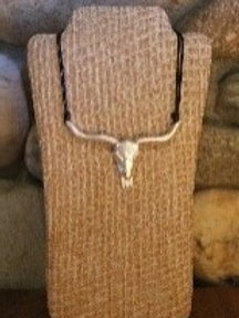 Silver Steer Skull Necklace