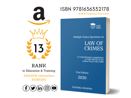 Law on Crimes by Legis Orbis bags 13th Rank in Amazon Top 100 #bestsellers