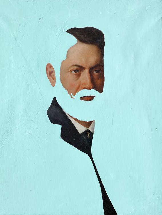 "Davide D'Elia, ""The Bolo"", 2017, anti-fouling paint intervention on oldmaster, 50,5 x 64 cm"