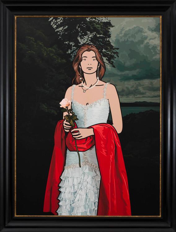 "Julian Opie, ""Maria Teresa with red shawl"", 2008, silkscreen on canvas, 120 x 90 cm"