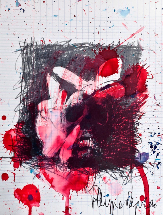 Philippe Pasqua, Vanitas with butterflies, 2010, mixed media on paper, 80 x 70 cm
