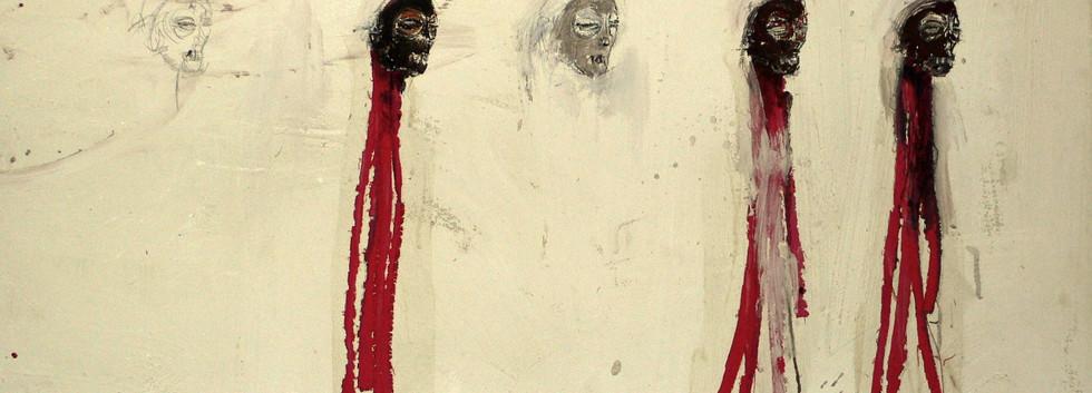 Philippe Pasqua, Five Heads, 1997, oil on canvas, 90 x 130 cm
