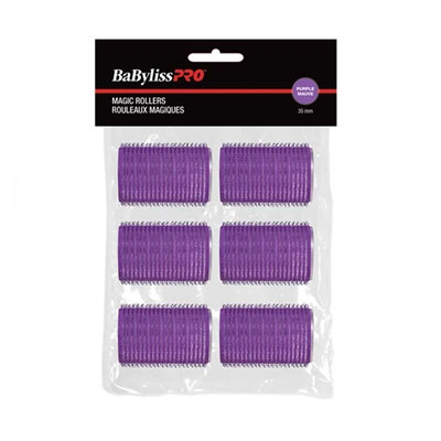 BaBylissPRO Self-Gripping Velcro Rollers Purple 35mm  6/bag