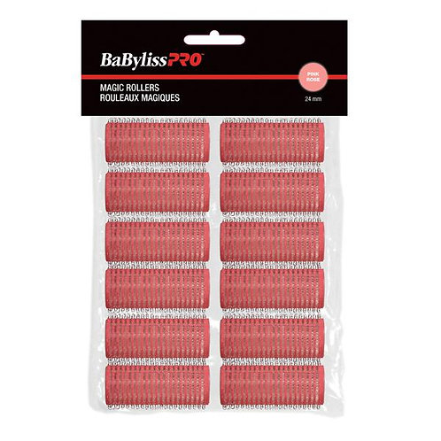 BaBylissPRO Self-Gripping Velcro Rollers Pink  24mm 12/bag