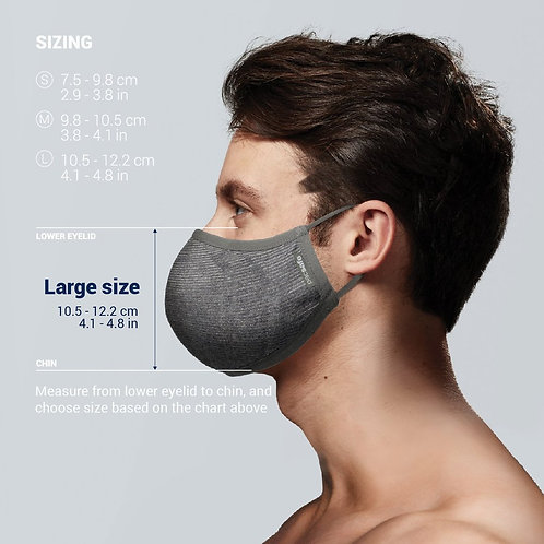 Pacsafe Face Mask Protective & Reusable Silver iON Large
