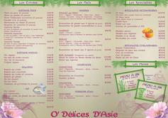Dépliant A4 3 volets - O'délices d'Asie - Carte restaurant - Intérieur