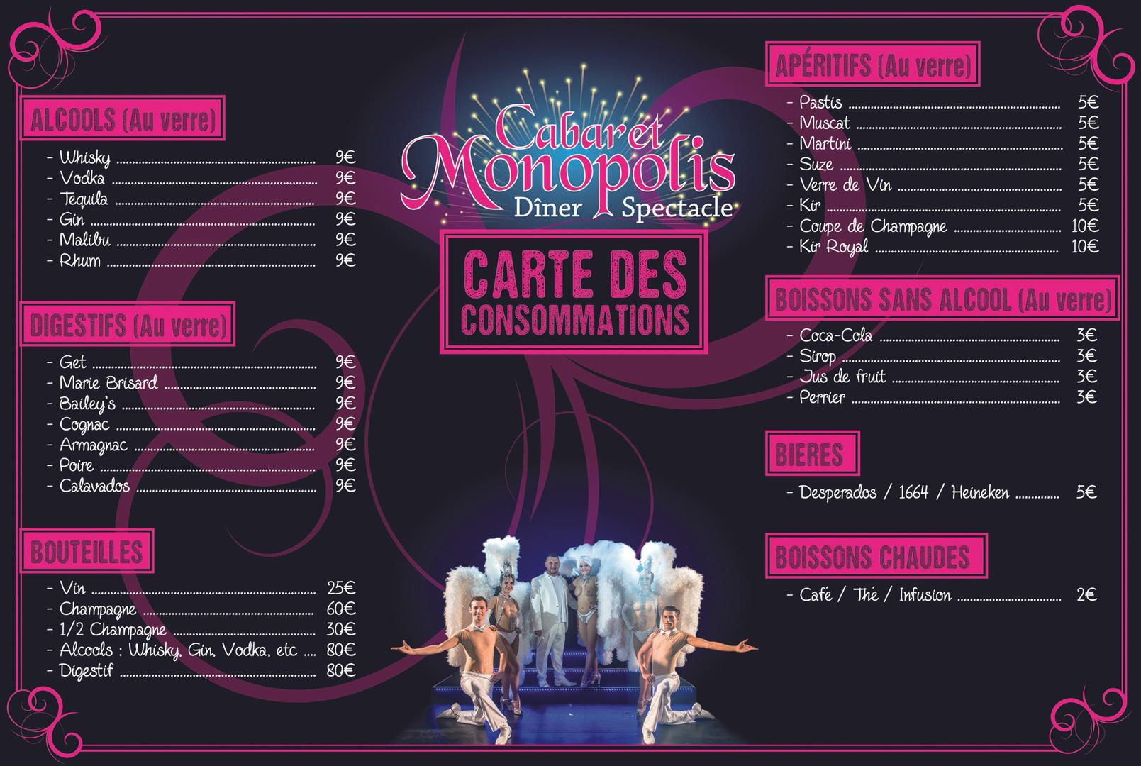 Dépliant A4 3 volets - Monopolis Carte des consommations - Intérieur