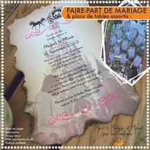 Faire-part de Mariage et plans de tables assortis