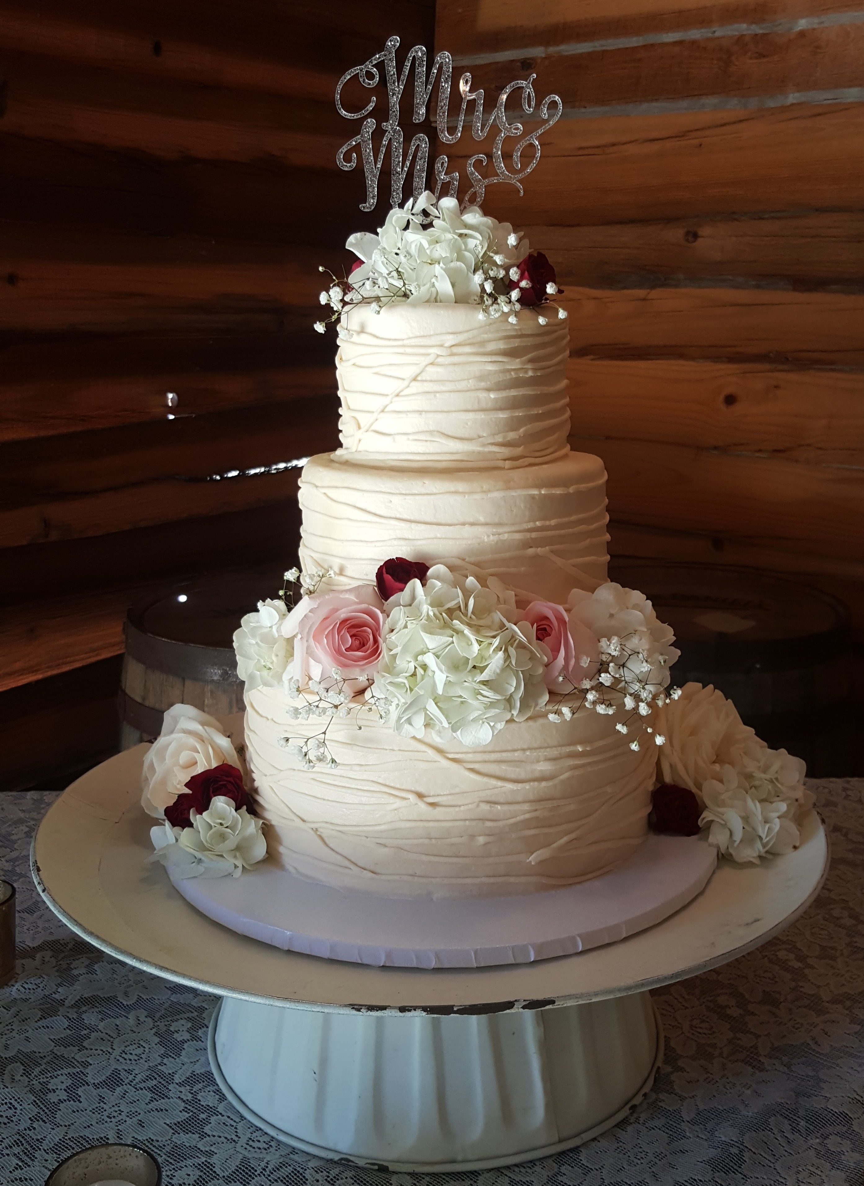 3 Tier Buttercream String Wedding