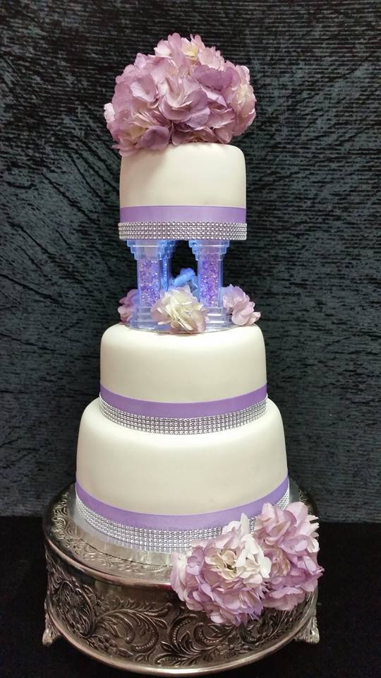 Wedding cake lit up