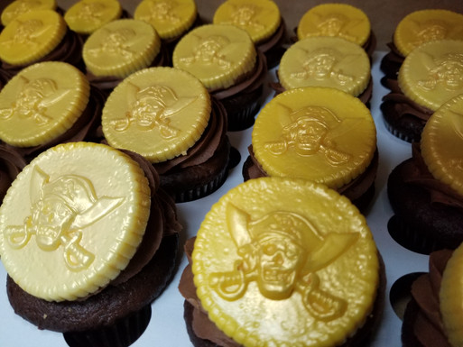 Chocolate Pirate Coin Cupcakes